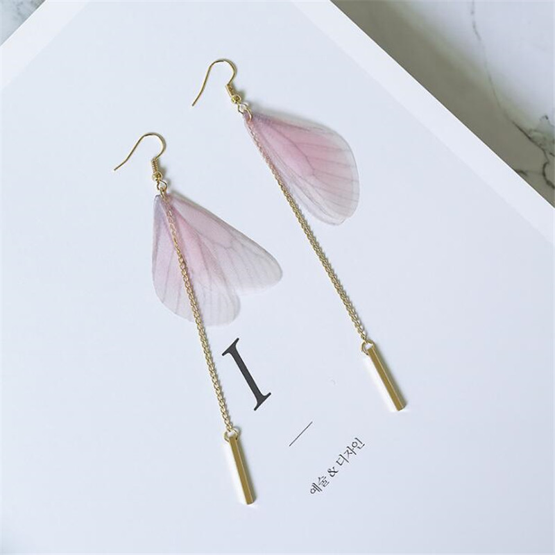 2017 Newest Handmade Ethereal Butterfly Drop Earrings For Women Bohe Style Pink Color Long Chain Tassel Earring Party Jewelry ...