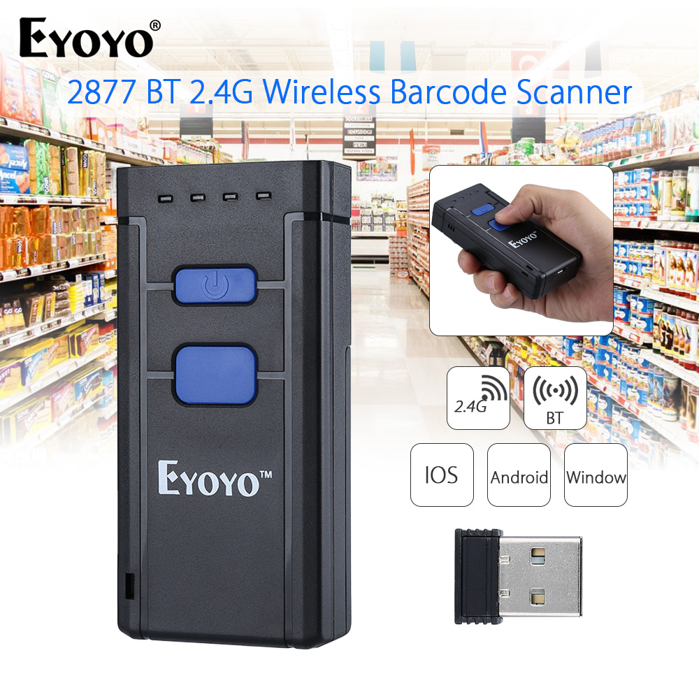 EYOYO MJ-2877 1D Laser Barcode Scanner Mini Saku 2.4G Bluetooth Wireless Bar Code Scanner 1D Untuk Android IOS Windows