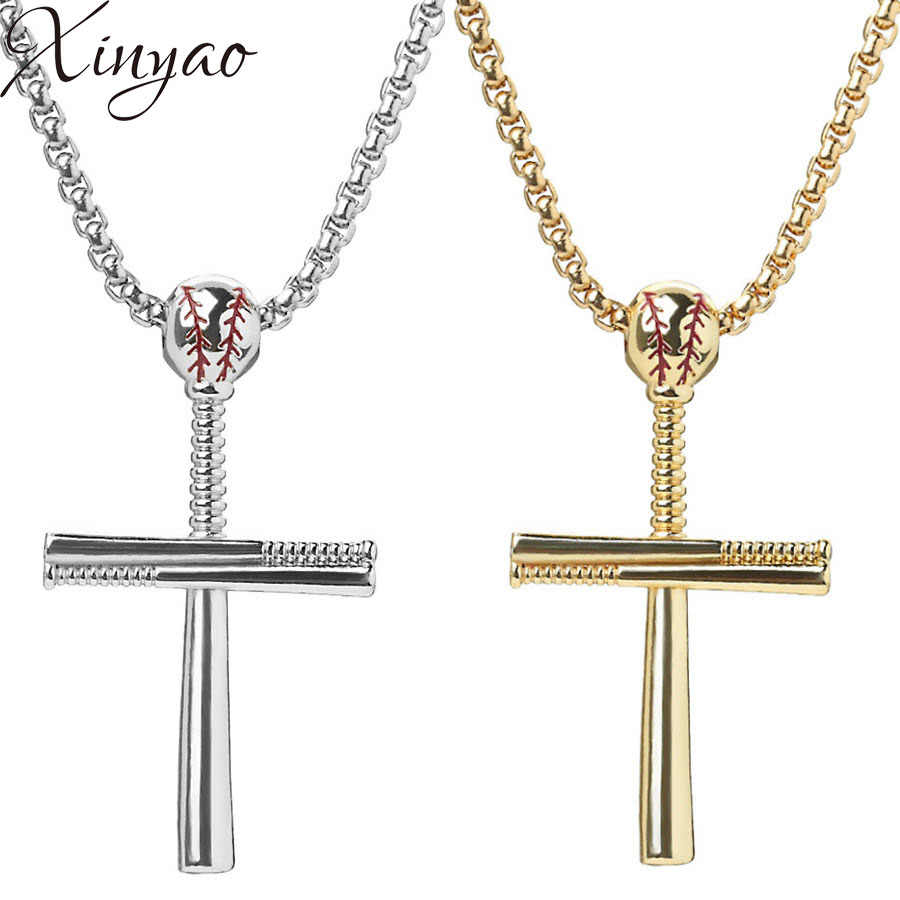 XINYAO Gold Silver Black Color Stainless Steel Baseball Cross Pendant Necklace For Women Men Hiphop 60cm Link Chain Necklace