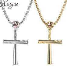 цена на XINYAO Gold Silver Black Color Stainless Steel Baseball Cross Pendant Necklace For Women Men Hiphop 60cm Link Chain Necklace
