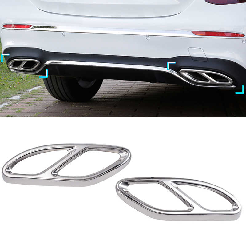 Stainless Steel Exhaust Muffler Tailpipe Tips Cover for Benz W205 W246 W212 W213