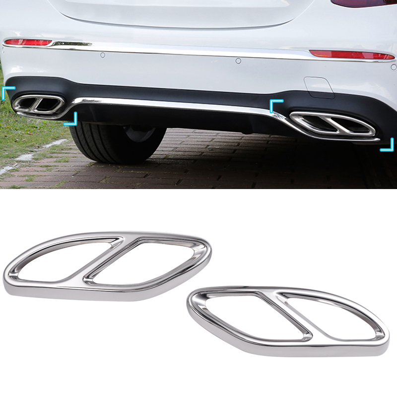 Car-styling AMG Rear Exhaust Pipe Cover Trim Frame For Mercedes Benz B C E Class Coupe W246 W205 W212 GLE W166 C292 GLS CLA kalaisike linen universal car seat cover for mercedes benz all models a160 180 b200 c200 c300 e class gla gle s600 car styling