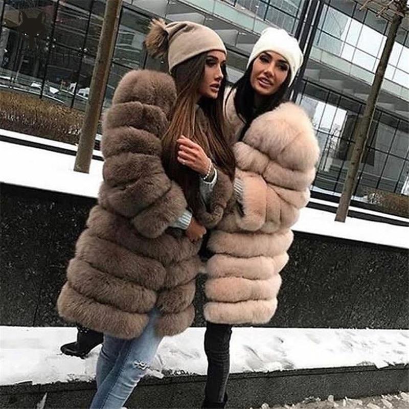 Furealux 100% fourrure de renard naturel de haute qualité manteau de fourrure de renard manches manteau détachable tout peut être enlever vraie fourrure