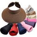 Мода Женщина Леди Складная Широкими Полями Roll Up соломы Козырек Шапки Sunhat Пляж Шляпа