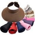 Fashion Woman Lady Foldable Wide Brim Roll Up straw Visor Cap Sunhat Beach Hat