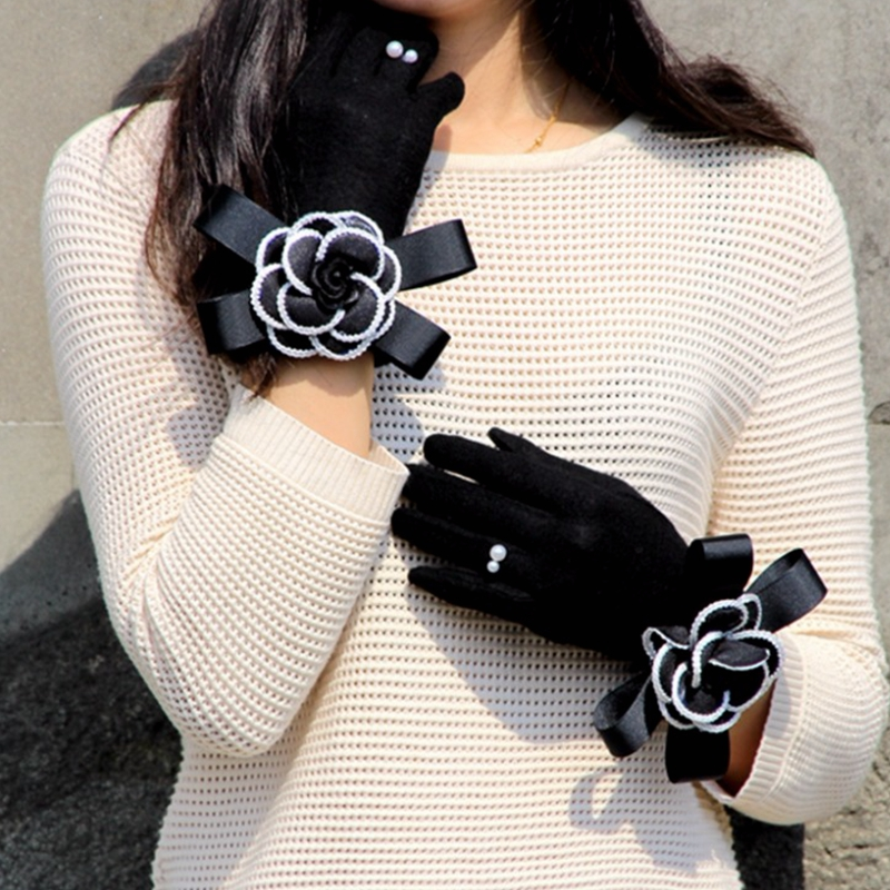 Brand Gloves Winter Women Gloves Cashmere Mittens Female Big Flower Warm Wool Gloves Women Driving Gloves