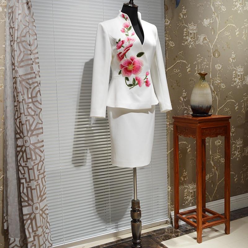 Costumes Vêtements Blanc Professionnel De Et Lady Faits Main Haut La Costume Broderie Gamme Femmes Avec Jupe À Crayon Office Blazers Jupes BoWCQdxer