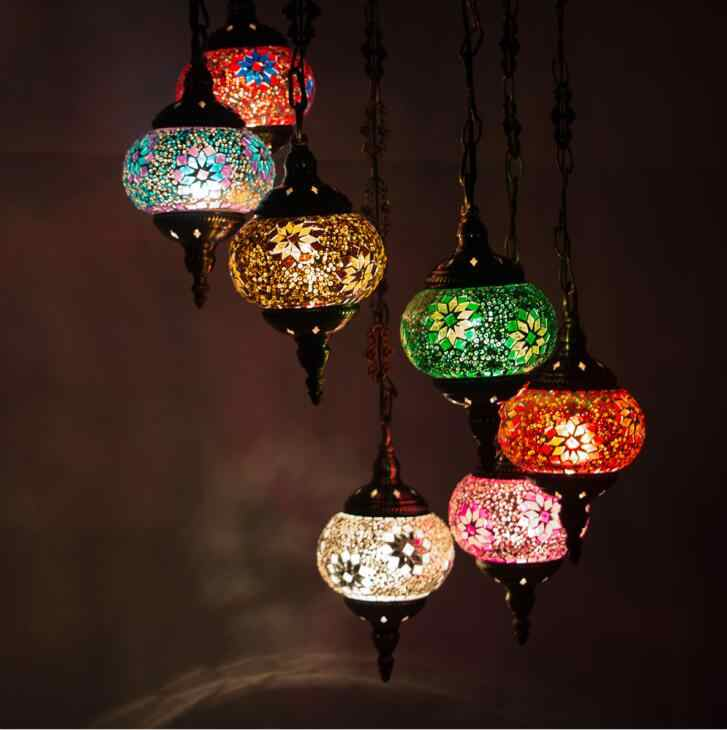 Турецкий Марокканской Подвесной Светильник мозаика ручной работы витражи коридор, Кафе Ресторан висит лампа