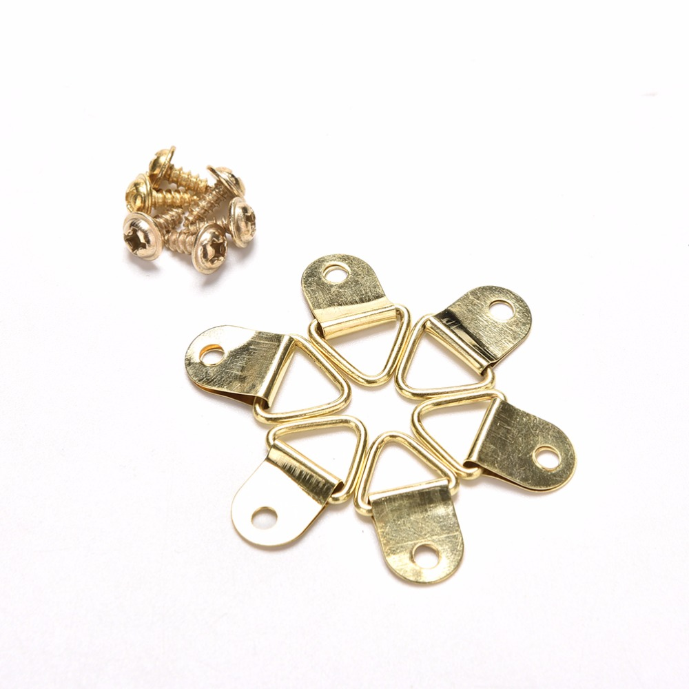 100pcs Golden Triangle D-Ring Hanging Picture Oil Painting Mirror Frame Hooks Hangers With 100 Screws 10x20mm