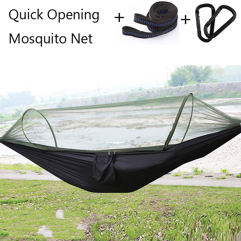 Single Automatic Quick Opening Mosquito Net Hammock Camping 210T Nylon Spinning Hanging Chair 250*120cm Leisure Swing BedSingle Automatic Quick Opening Mosquito Net Hammock Camping 210T Nylon Spinning Hanging Chair 250*120cm Leisure Swing Bed