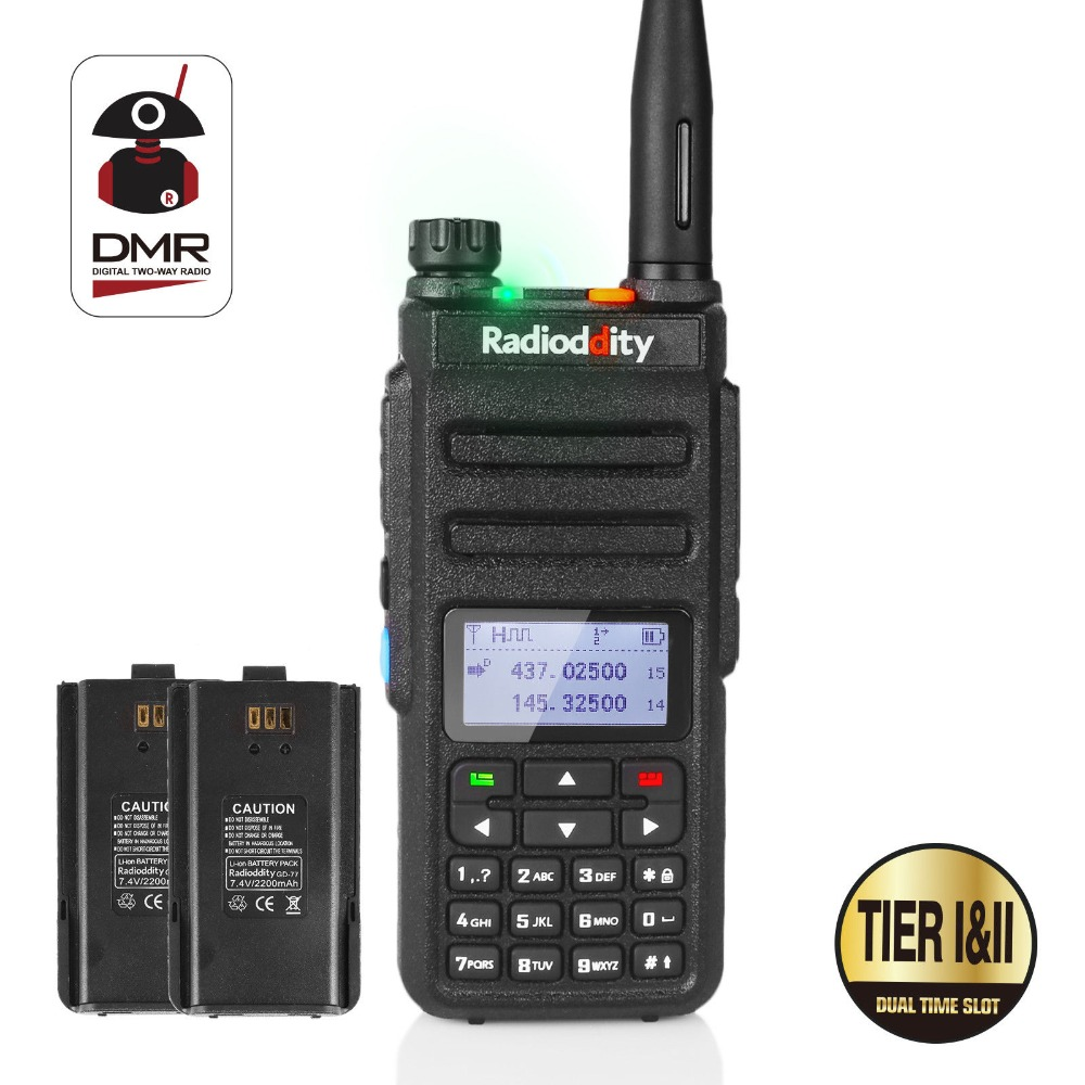Radioddity GD-77 Dual Band Dual Time Slot DMR Numérique/Analogique Radio Bidirectionnelle 136-174/400- 470 MHz Jambon Talkie Walkie avec Batterie