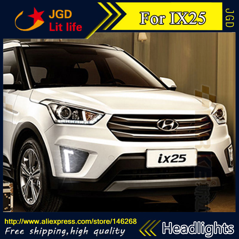 Free shipping ! 12V 6000k LED DRL Daytime running light for Hyundai IX25 fog lamp frame Fog light Car styling