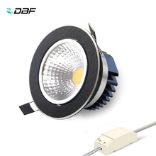 купить [DBF]Super Bright Recessed Black LED Dimmable Downlight COB 5W 7W 9W 12W LED Spot light LED decoration Ceiling Lamp AC 110V 220V онлайн