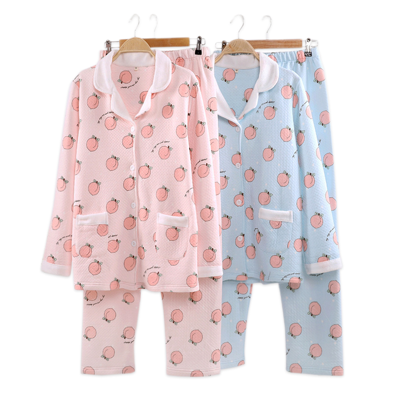 Kawaii juicy peach   pajamas     sets   women Winter quilted 100% cotton scuba pyjamas pink cartoon long sleeve warm women pijamas