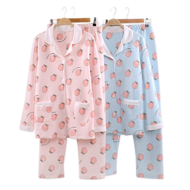 Kawaii Juicy Peach Pajamas Sets Women Winter Quilted 100% Cotton Scuba Pyjamas Pink Cartoon Long Sleeve Warm Women Pijamas