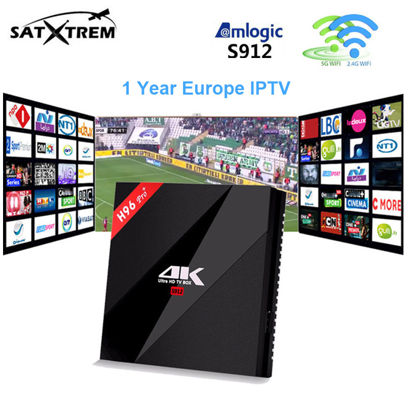 French IPTV Box H96 PRO+3G 32G Amlogic S912 Quad Core Android 7.1 TV Box+ iptv 1 year 2000+ Europe germany sweden Set Top Box купить
