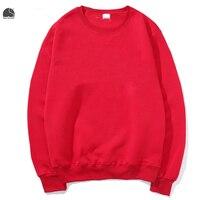 EnjoytheSpirit 2017 Men S Crewneck Sweatshirt Red Solid Color Male Fleece Hoodie Plain Casual Long Sleeve