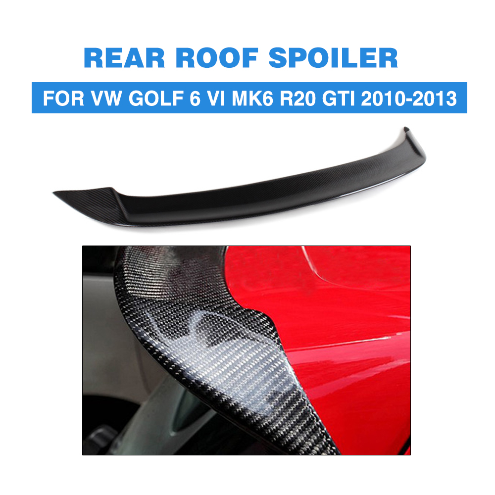 Carbon Fiber Car Rear Roof Spoiler Boot Lip Wings For Volkswagen VW Golf 6 VI MK6 R20 GTI 2010-2013 O Style car rear trunk security shield cargo cover for volkswagen vw golf 6 mk6 2008 09 2010 2011 2012 2013 high qualit auto accessories