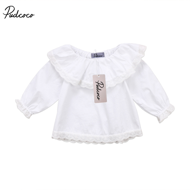 fa9d49097a6d Cute Newborn Baby Girls Lace Off Shoulder Long Sleeve Tops Princess Ruffle  White T-shirts Spring Autumn Clothes 0-2T