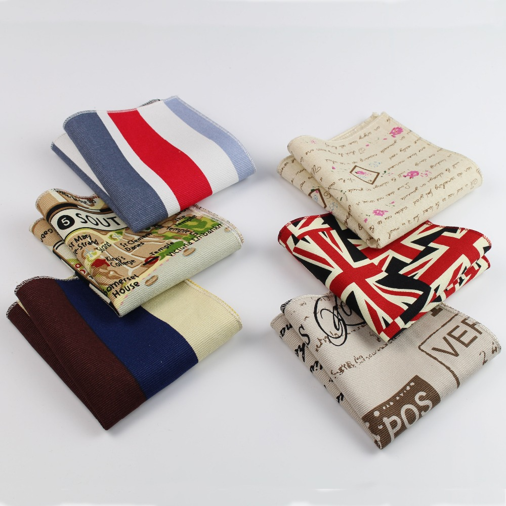Handkerchief Scarves Vintage Linen Hankies Men's Strip Star Map Design Pocket Square Handkerchiefs 22*22cm No.21-40