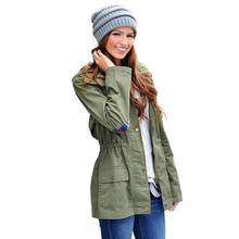RE 2016 New Spring Fashion Coats Women Jackets Cotton Ladies Down & Parkas army green Casual Coat
