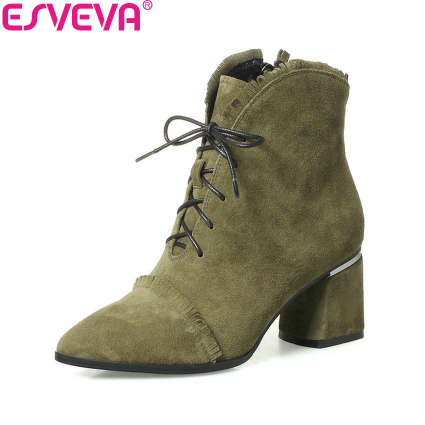 ESVEVA 2018 Women Boots Pointed Toe Spring Sweet Style Ankle Boots  AutumnSquare High Heels Synthetic/PU Ladies Boots Size 34-42 new 2017 spring summer women shoes pointed toe high quality brand fashion womens flats ladies plus size 41 sweet flock t179