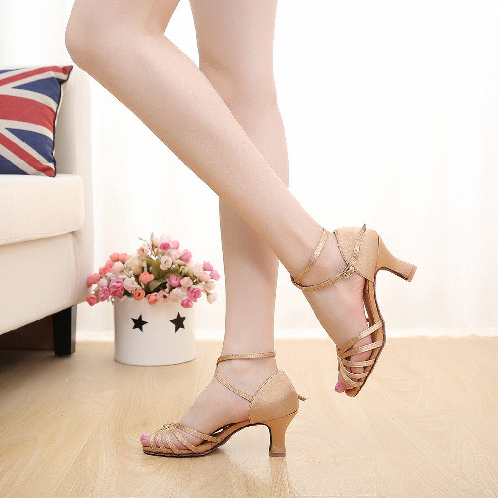 Women Color Rumba Waltz Sandals Prom Ballroom Latin Salsa Dance Low Heels Ladies Shoes Sandal 2019 Summer Fashion Office & School Supplies