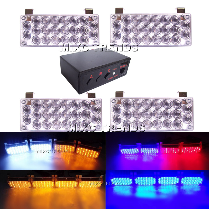 Exclusive 4X22 LED Emergency Strobe Beacon Light White Yellow Red Blue 12V Car EMS Police Firemen Grille External Warning Light air compressor pressure valve switch manifold relief regulator gauges 0 180psi 240v 45 75 80mm