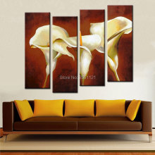 Free Shipping Handmade 4 Piece BROWN Modern Decorative Oil Painting On Canvas Wall Art LARGE Flower Picture For Living Room