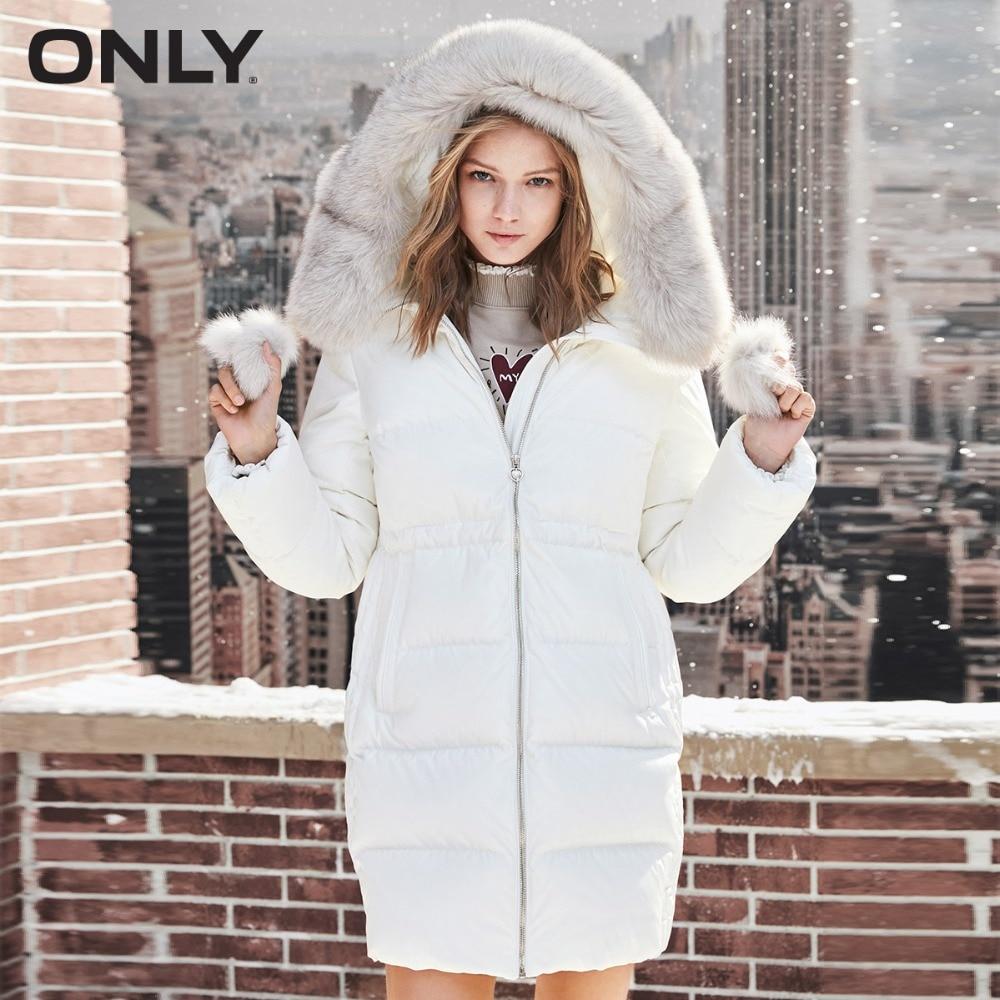 ONLY Women's Fox Fur Collar Duck Down Drawstring Hooded Down Jacket 118312527