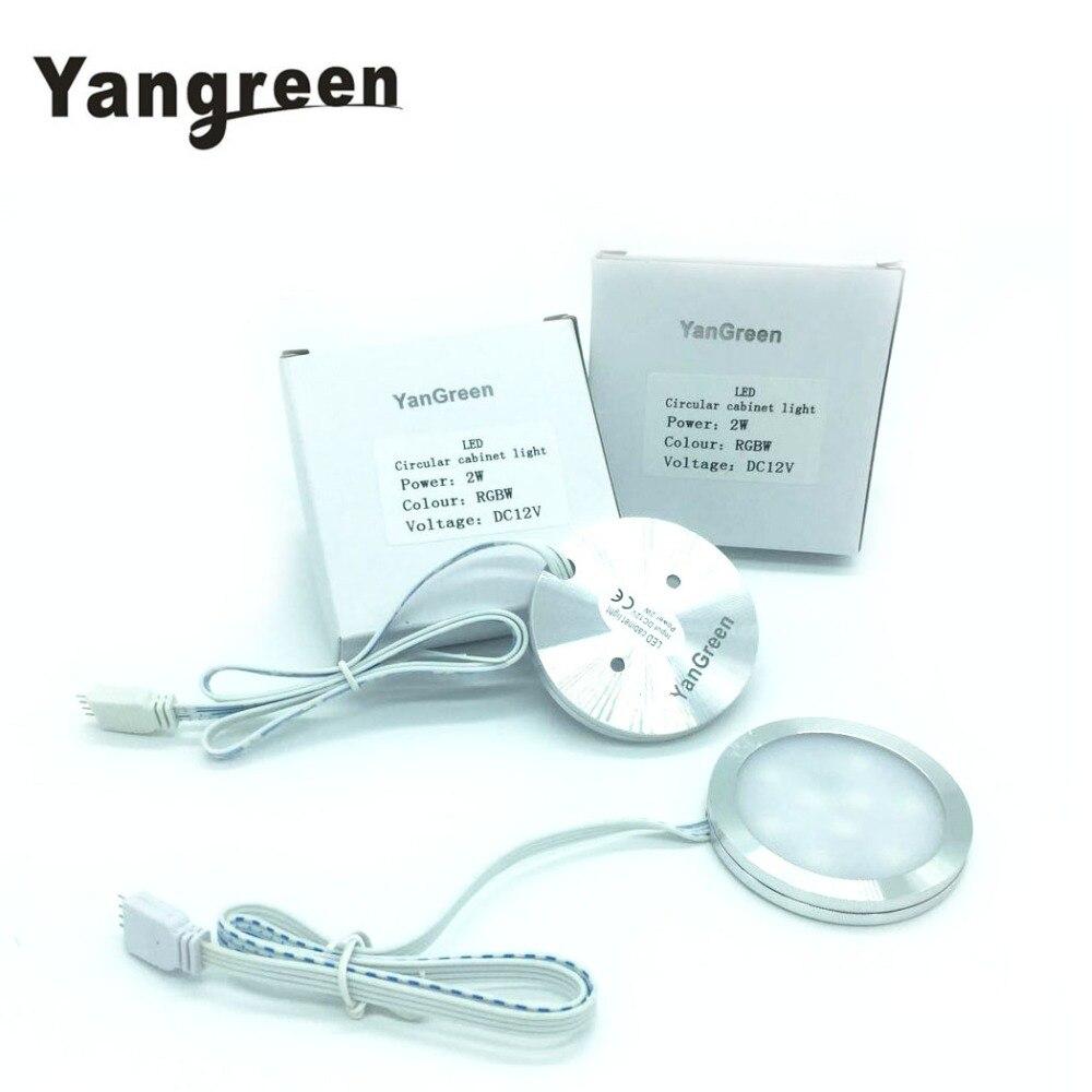 Yangreen LED Under Cabinet Lighting LED Puck Llights 12V 2W LED Light Closet Cupboard Showcase Drawer Wardrobe Indoor Lighting Under-cabinet lighting