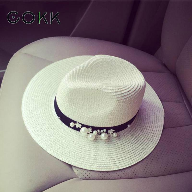 COKK New Spring Summer Tops For Women Flower Beads Wide Brimmed Jazz Panama Hat Chapeu Feminino Sun Visor Beach Hat Cappello