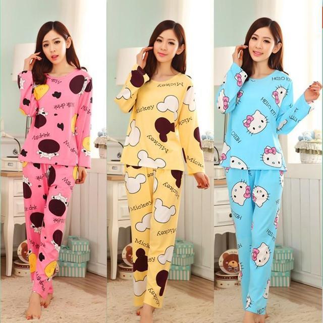 2016 Mulheres Agradáveis Pijamas Ternos Dos Desenhos Animados Primavera Outono Feminino Longo-luva de Seda Leite Calças de Pijama Pijamas dos ternos