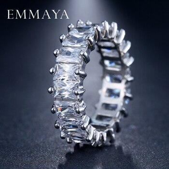 EMMAYA-Anillo de Circonia cúbica, diseño único, Color plata, anillo para mujeres de...
