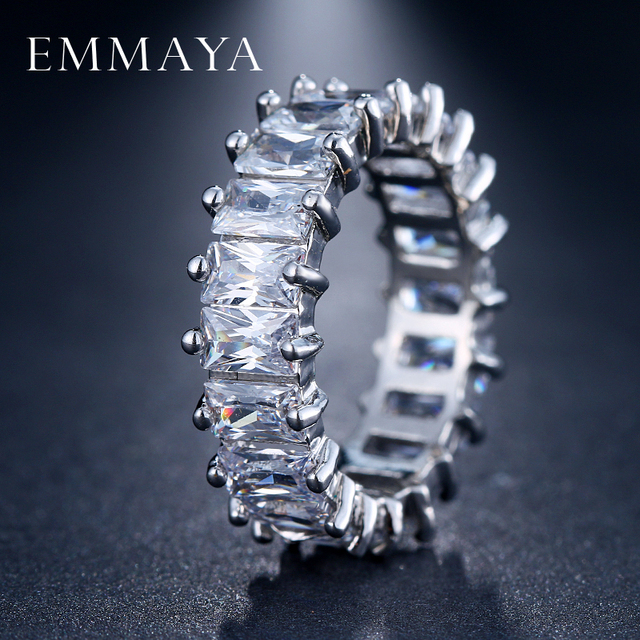 EMMAYA עיצוב צבע כסף ייחודי תכשיטי טבעת נשים אופנה האוסטרי זירקון טבעת CZ סלול