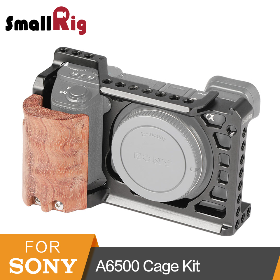 SmallRig A6500 Cage with Wooden Hand Grip for Sony Alpha A6500/ILCE-6500 Camera Cage Quick Release Mounting Kit - 2097