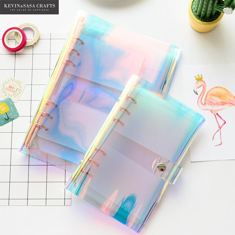 Iridescent Laser PVC Notebook Quality PVC Planner Sketchbook Diary Note Book Kawaii Journal Stationery School Tools Supplies