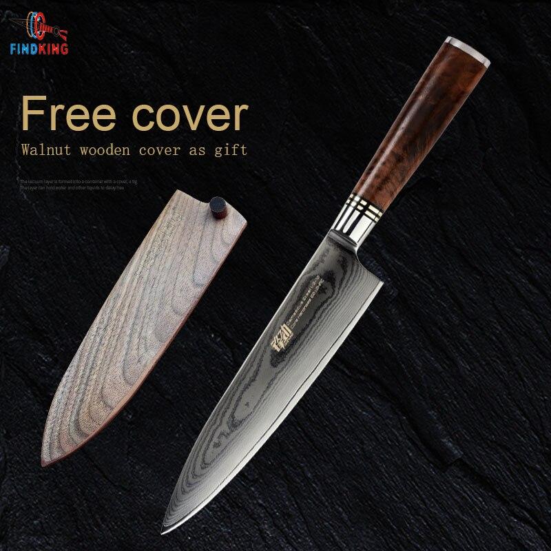 FINDKING 8 pouce Sapele bois poignée damas chef couteau 67 couches Japonais VG10 damas couteau de cuisine en acier avec couvercle en bois