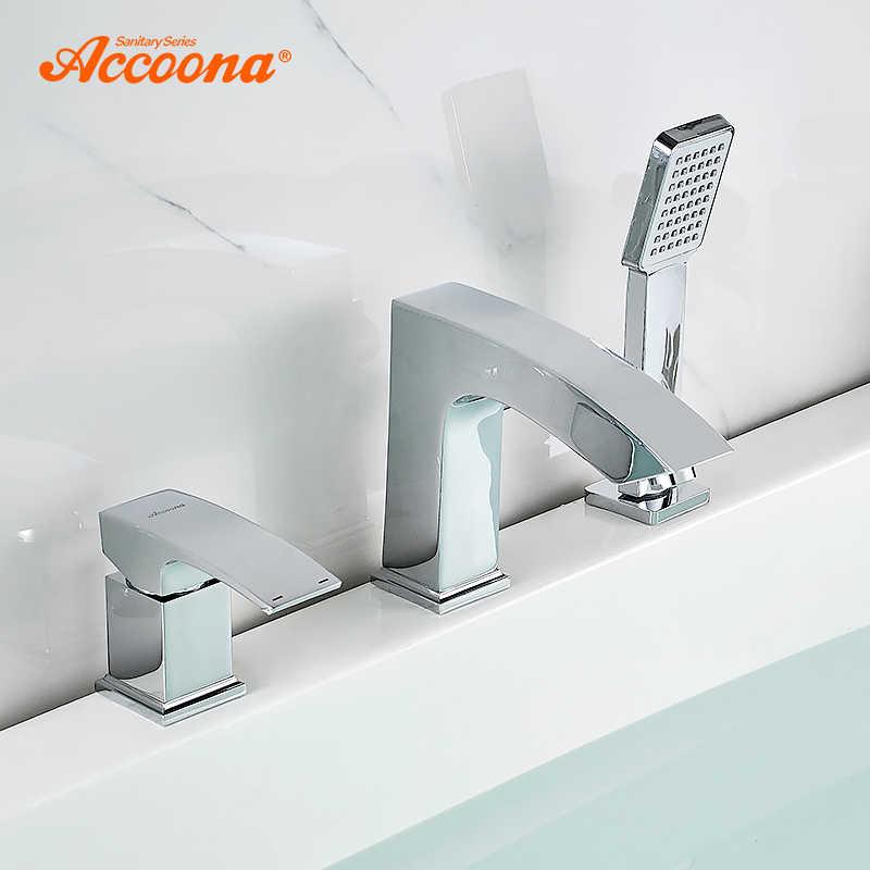 Accoona ก๊อกน้ำอ่างอาบน้ำแยกเดี่ยว Holder Dual Control น้ำตกก๊อกน้ำ Bath Tub Mixer Deck ติดตั้งก๊อกน้ำ A6590