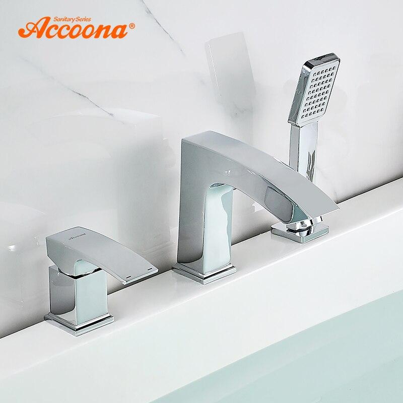 Accoona кран для ванны с раздельным корпусом, один держатель, двойной контроль, водопад, кран для ванной, смеситель для ванны, кран для ванны на бортике, A6590|Смесители для ванны|   | АлиЭкспресс