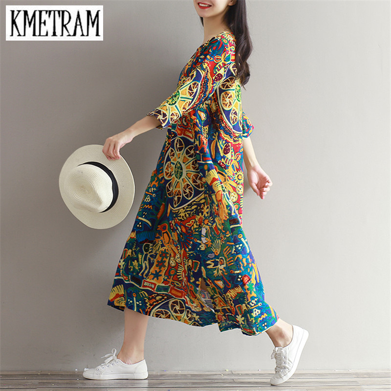 2018 Spring Summer Dress Women Clothes Flower Cotton Maxi Dresses Long Plus  Size Women Clothing Casual Vestidos Mujer YJZ012-in Dresses from Women s ... b4daaf67d760