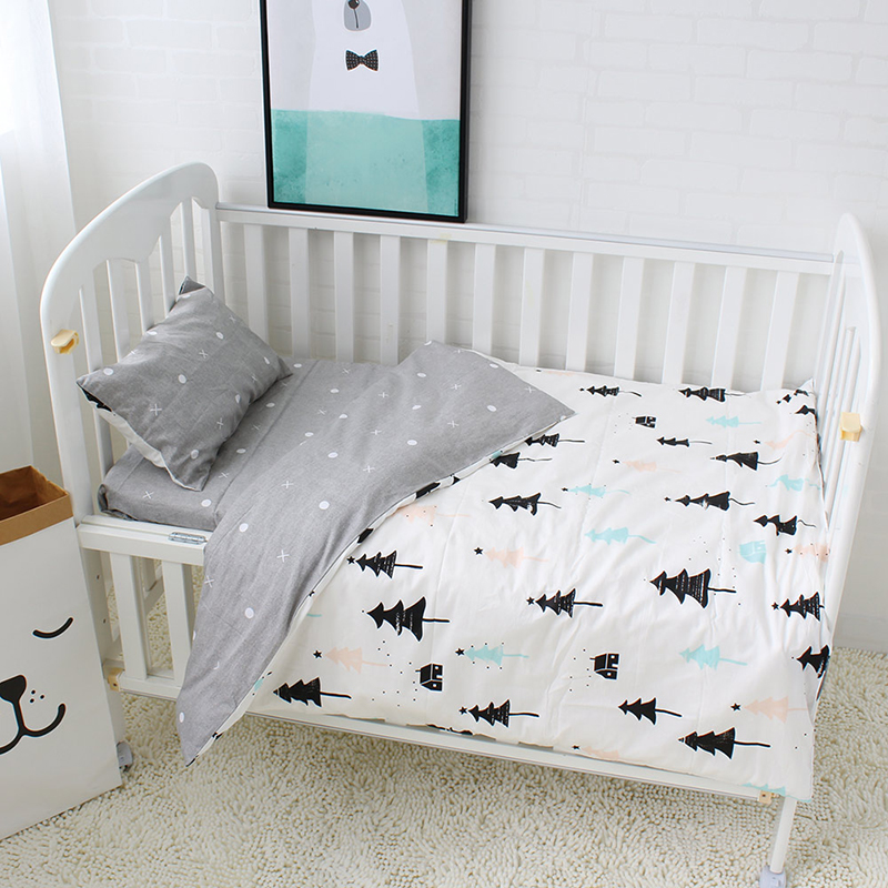 3Pcs Baby Bedding Set Pure Cotton Baby Crib Sets Cute Bear Pattern Baby Linen Include Duvet Cover Pillowcase Flat Sheet creative cup of giraffe pattern square shape flax pillowcase without pillow inner