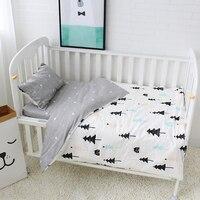 3Pcs Baby Bedding Set Pure Cotton Baby Crib Sets Cute Bear Pattern Baby Linen Include Duvet Cover Pillowcase Flat Sheet