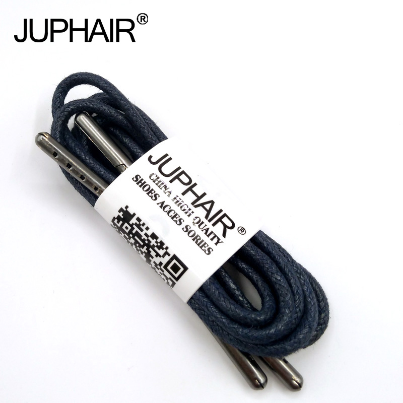 1-12 Pairs Dark Blue High Quality Unise Laces Waxed Round Shoelaces Sneaker Solid Polyester Twisted Shoes Metal Head Shoelaces