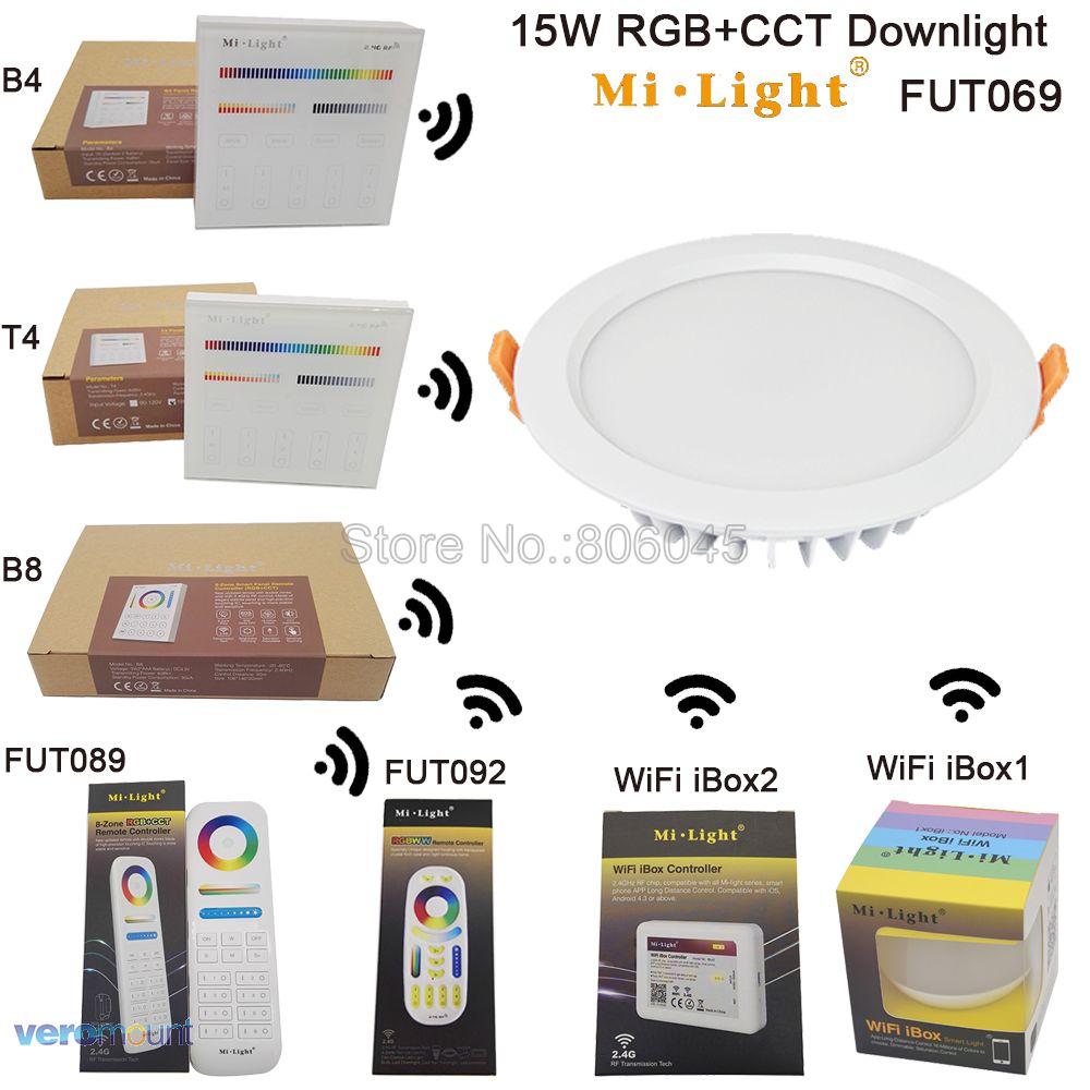 2.4 г milight 15 Вт RGB + <font><b>CCT</b></font> затемнения светодиодные светильники IP54 водонепроницаемый AC86-265V Reccessed свет Wi-Fi Совместимые 2.4 г беспроводной пульт дистанц&#8230;