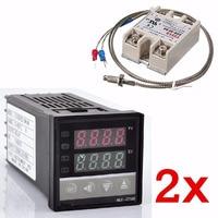 2x Digital 220V PID REX C100 Temperature Controller Maximum 40A SSR K Thermocouple