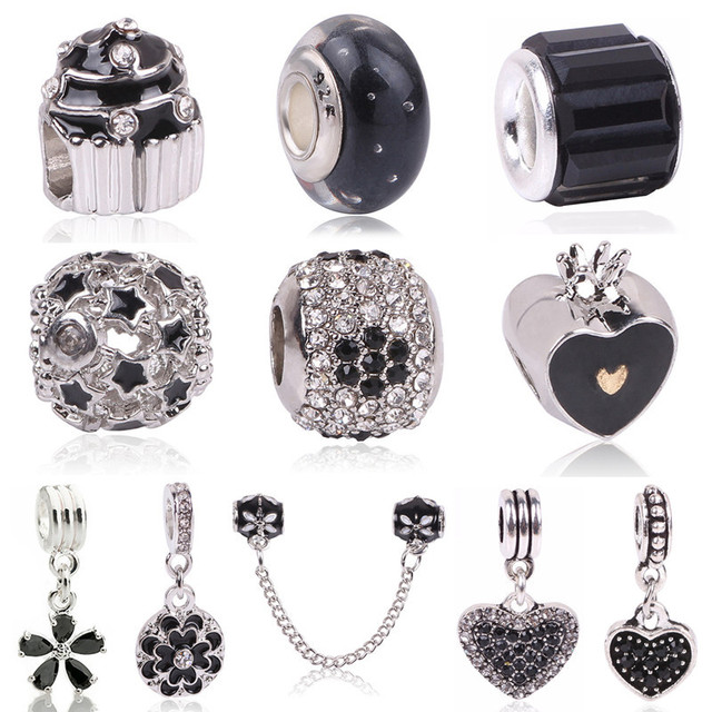 Couqcy High Quality White Flower Black Murano Glass Beads Fit Original Pandora Silver Charm Bracelet Necklace DIY Jewelry Making