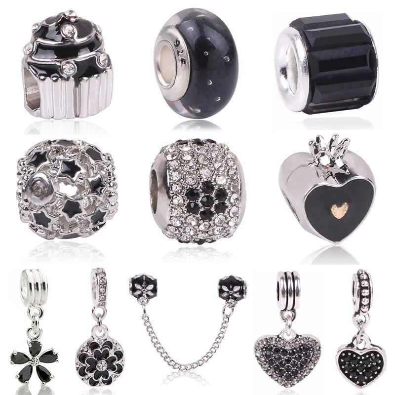 Dream Catcher Charms Compatible con pulseras de estilo europeo Cuenta con dise/ño de flor de plata de ley 925 y cristales con plumas