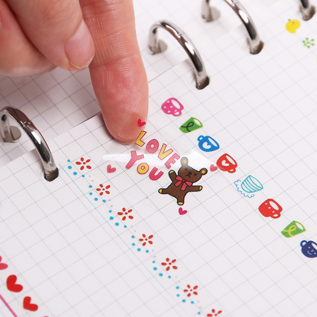 6PCS/set Kawaii Cute Drawing Market Planner Book Diary Decorate Stationery Stickers PVC Transparent Scrapbooking 2