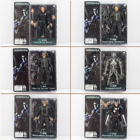 6 Styles NECA The Terminator PVC Figure Toys T-800 & T-1000 PVC Model Collection Toys Free Shipping